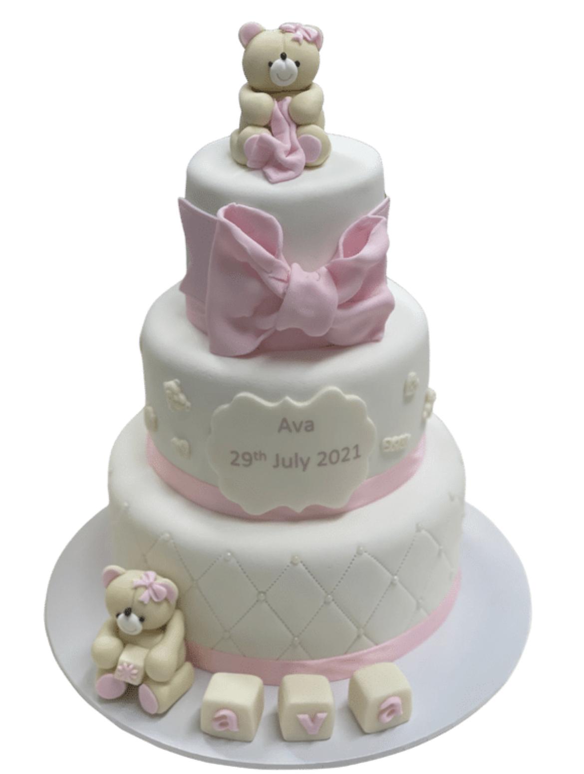 3 Tier Christening Girl Bow Cake
