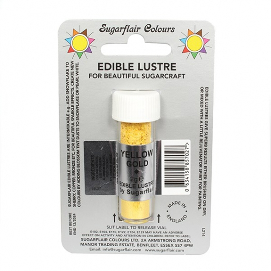 Sugarflair Edible Lustre Colour - Yellow Gold