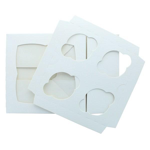 White 4 Cupcake/Muffin Box - Single