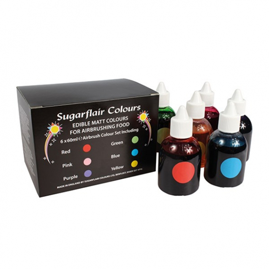 Sugarflair Airbrush Matt Colour Collection 6 x 60ml