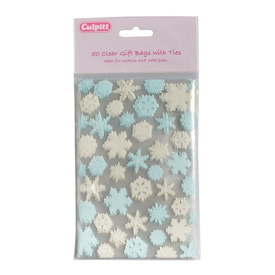 Snowflake Favour Bag With Ties 50 Piece 101mm X 152mm