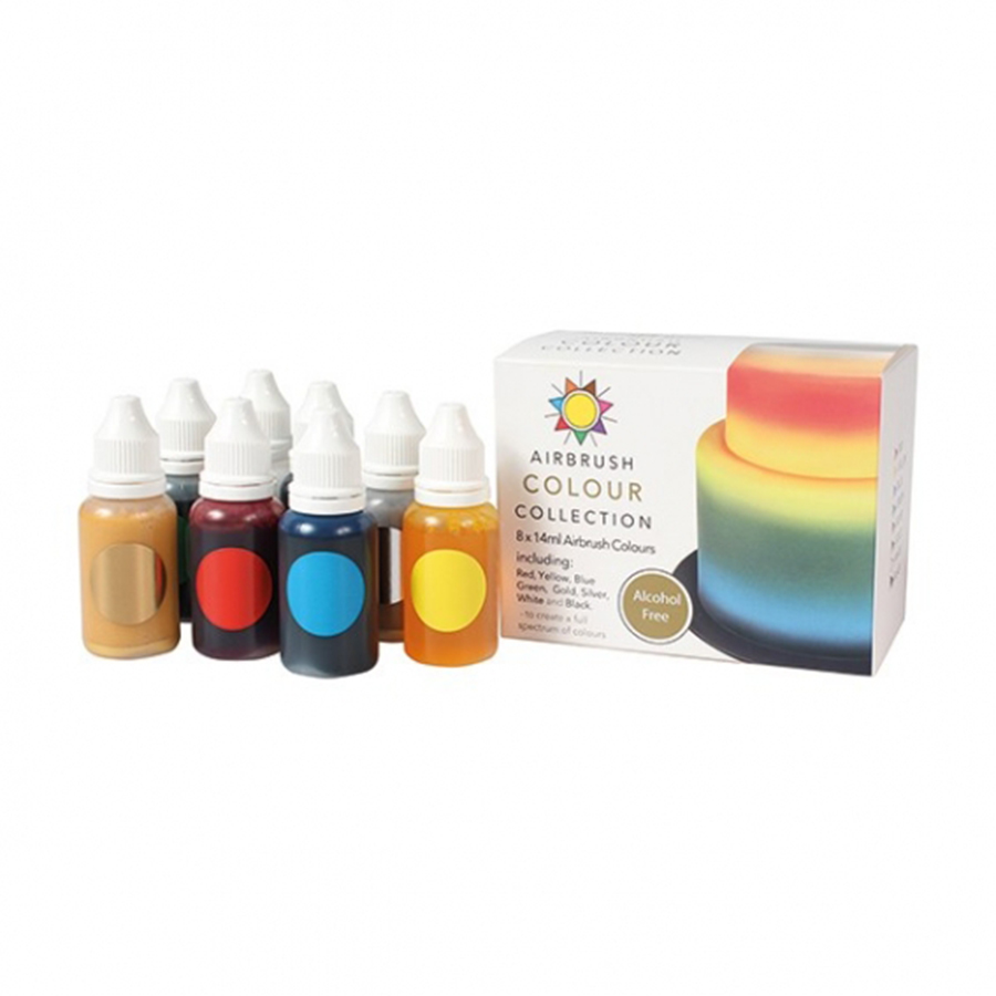 Sugarflair ALCOHOL FREE Airbrush Colour Collection - 8 x 14ml bottles