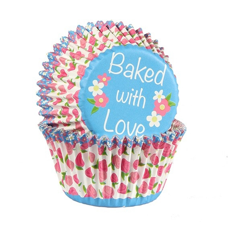 Baked with Love Foil Lined Baking Case Rose Bud Multi 25 pack