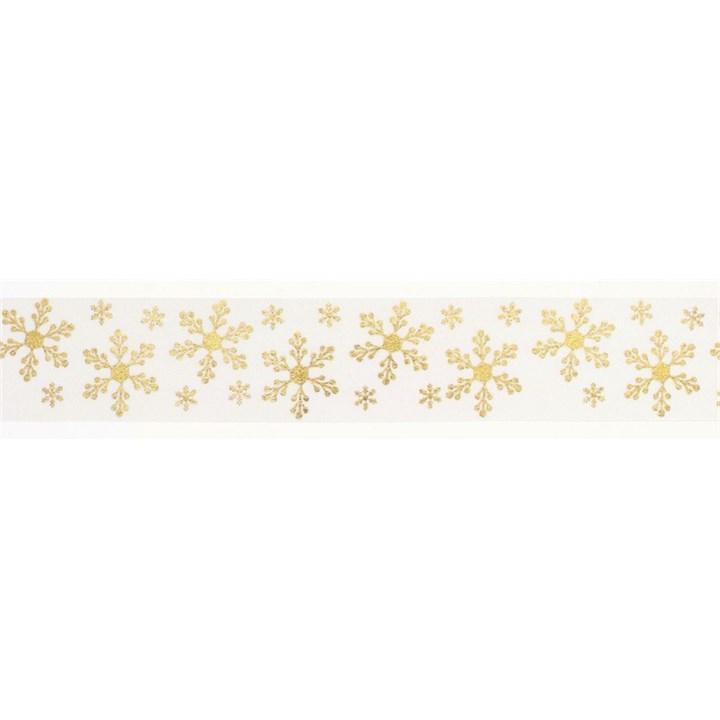 Gold/Ivory Snowflakes Ribbon - 36mm X 20m