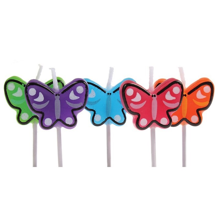 Birthday Candles - 5 X Butterfly - Single