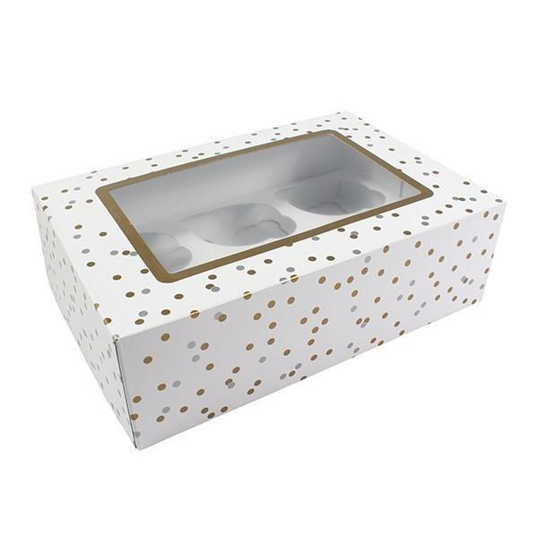 Metallic Spot 6 Or 12 Cupcake/Muffin Box - Single