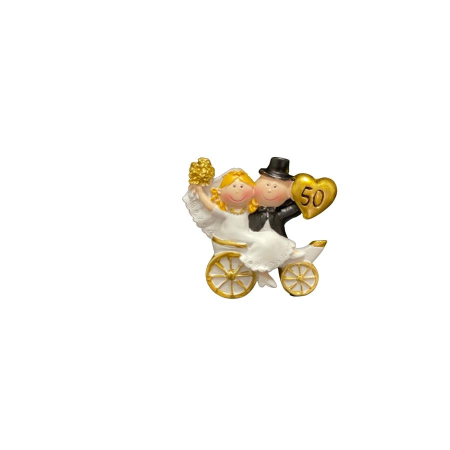 Golden Wedding Anniversary Carriage Cake Topper 5cm