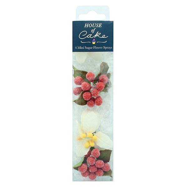 House Of Cake - 4 Mini White Poinsettia Sugar Sprays - Single