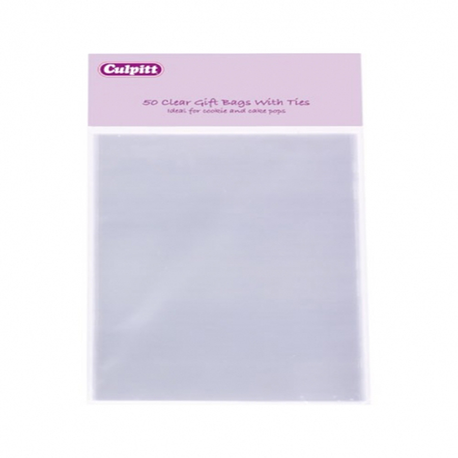 Large Clear Gift Bags with Ties 50 piece