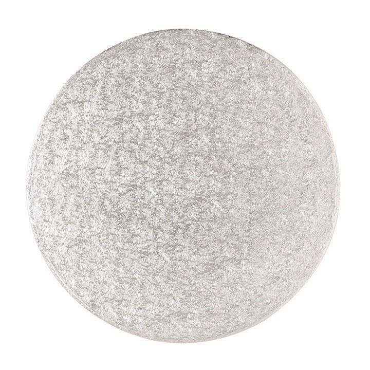 24'' (609mm) Cake Board Round Silver Fern - Single