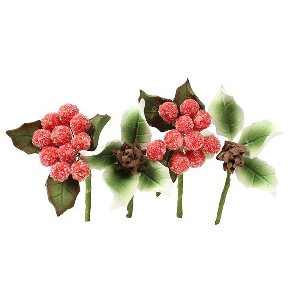 HOC - Frosted Berry And Pine Cone Mini Sprays - 4 Piece - Single