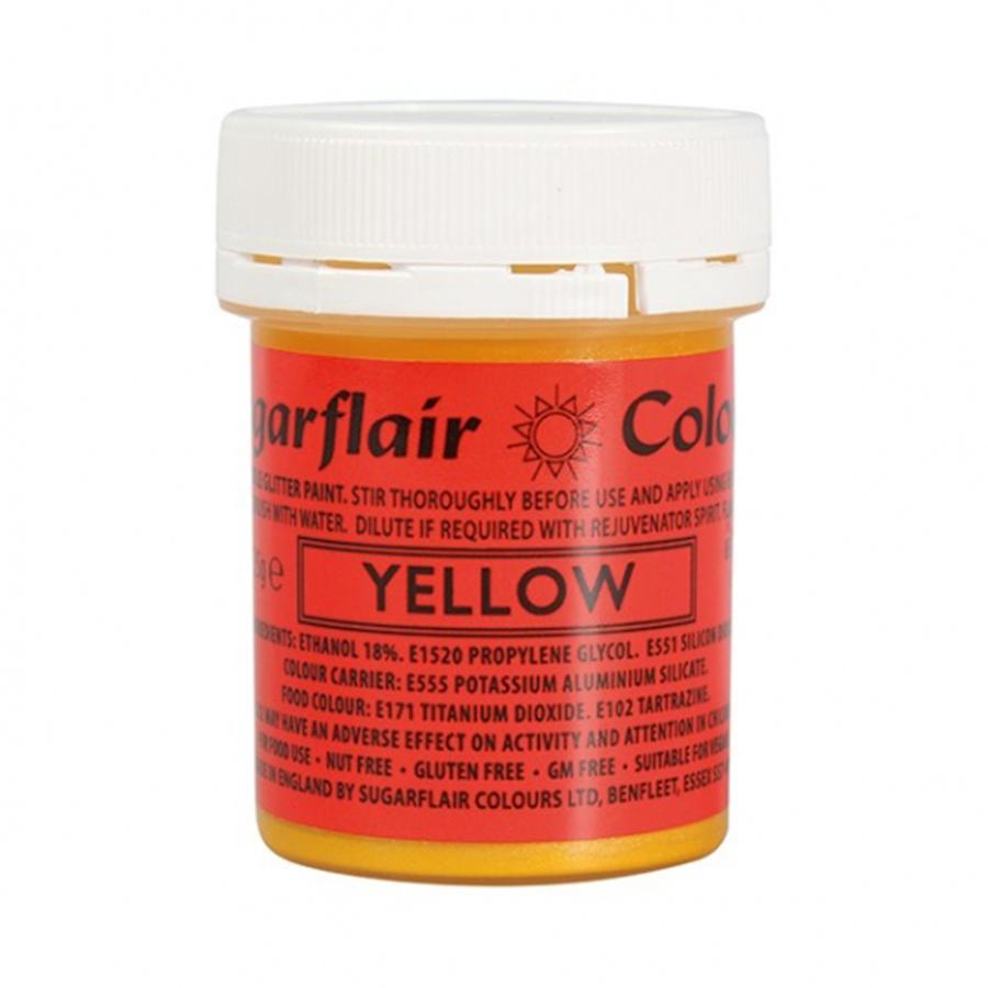 Sugarflair Edible Glitter Paint Yellow 35g