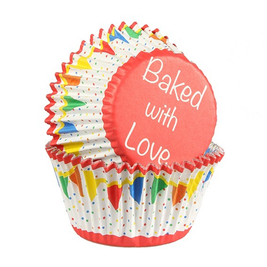 Baked with Love Foil Lined Baking Case Bunting Primary 25 pack