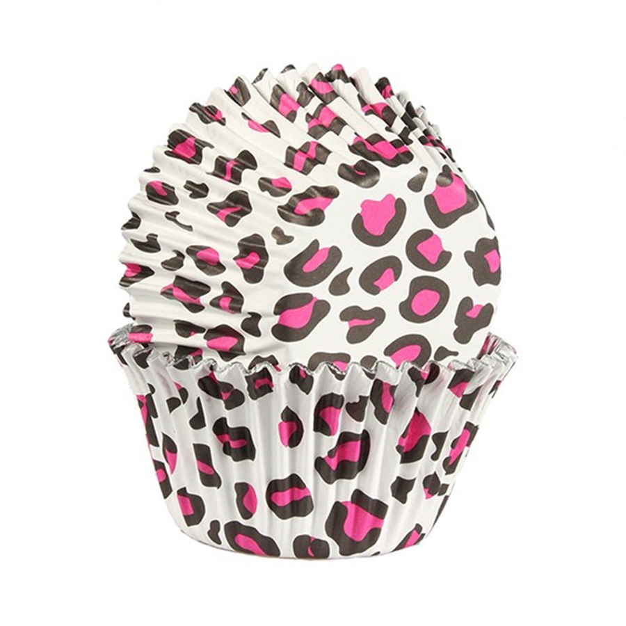 Baked with Love Foil Lined Baking Case Leopard Print Pink 25 pack