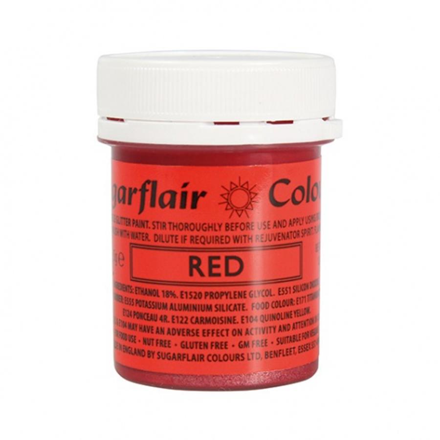 Sugarflair Edible Glitter Paint Red 35g