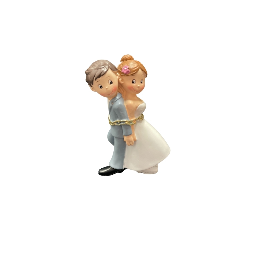 Quirky Bride & Groom Chained Together Cake Topper 8cm