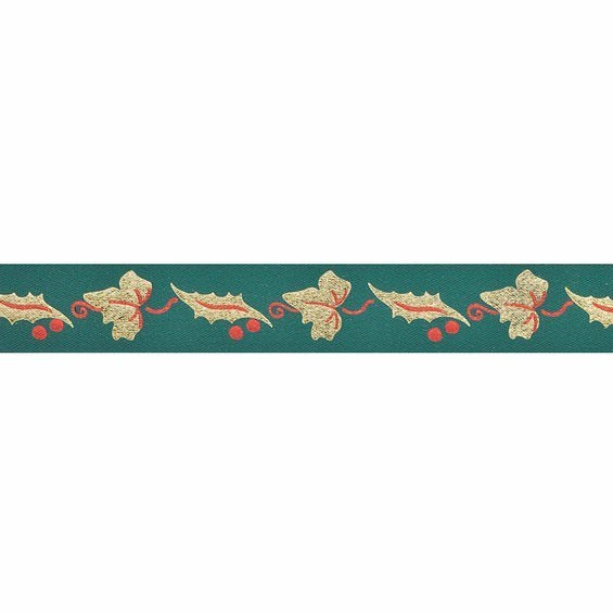 Green/Gold Holly And Ivy Leaves Ribbon - 24mm X 20m
