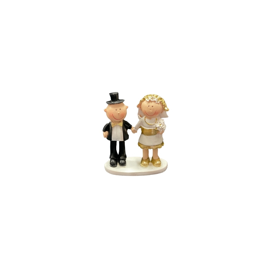 Quirky Small Golden Wedding Anniversary Cake Topper 8.5cm