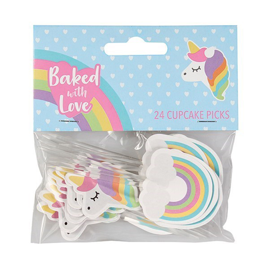 24 Baked with Love Unicorn and Rainbow Decorative Pic - single