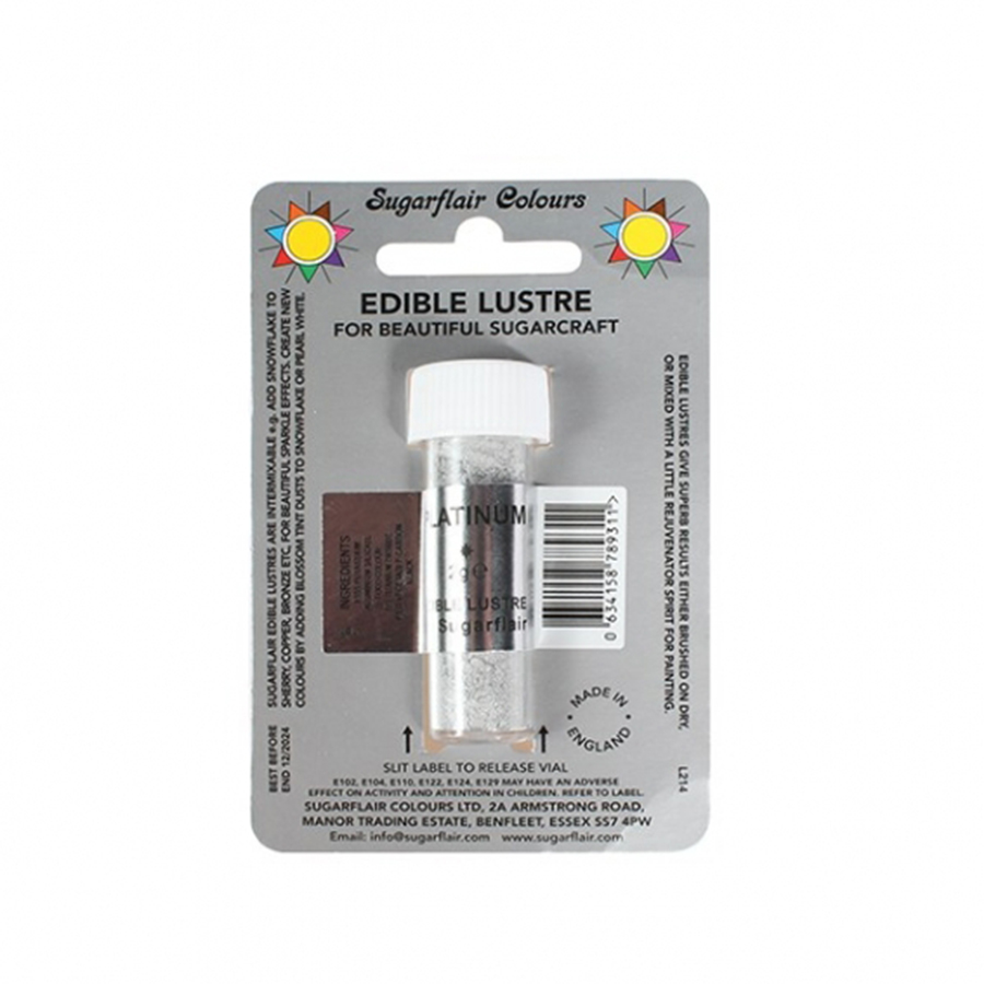 Sugarflair Edible Lustre Colour - Platinum - 2g