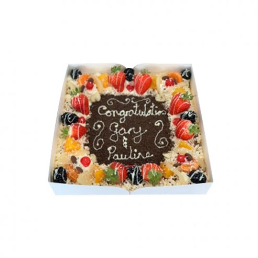 Fresh Cream Fruit Gateaux - 12 inch sq