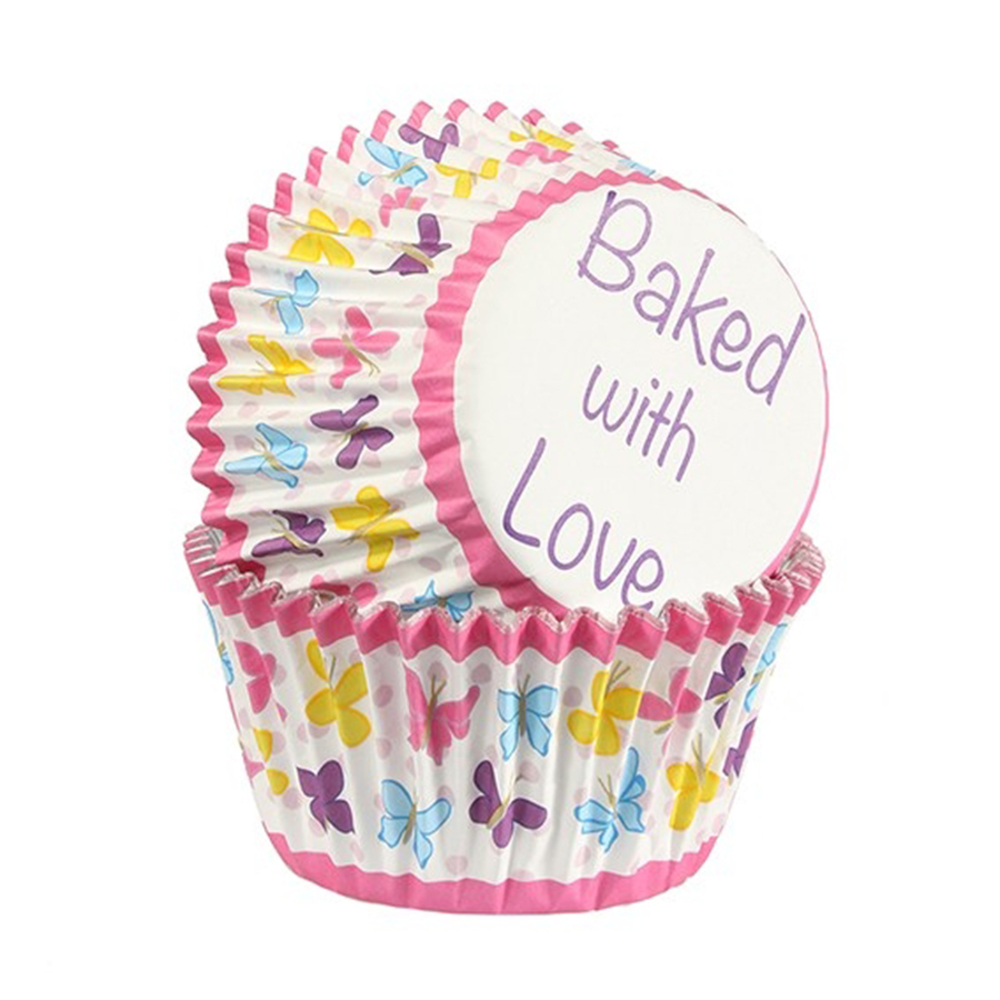 Baked with Love Foil Lined Baking Case Butterfly Pink 25 pack