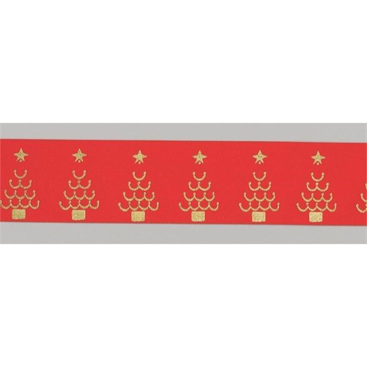 Red/Gold Christmas Trees Ribbon - 36mm X 20m