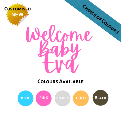 Welcome Baby Cake Topper - Personalised